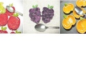 Pottery Spoon Rest, Choose Red Apple, Purple Grapes, or Orange Pumpkin Design, Small Clay Dish