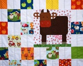 Quilt Baby Toddler Children Nursery Bedding Apple Hill Farm Cows Checkerboard Patchwork Farm Animals Tractors Primary Colors red green blue