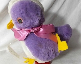 Vintage Plush Musical Revolving Chick Toy Lavender Duck-A-Ling