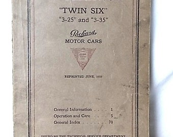 """Vintage 1920 Packard Motor Cars """"Twin Six"""" 3-25 and 3-35 Information Manual"""
