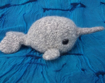 Narwhal plush toy, narwhal stuffed animal, knitted and felted narwhal, sea mammal plush toys, amigurumi narwhal plush toy, made to order