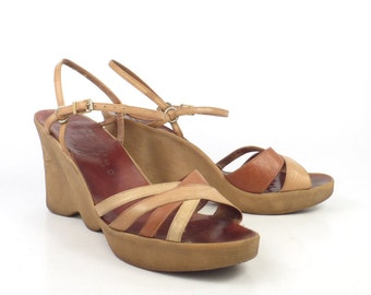 Famolare Platform Shoes Vintage 1970s Hi Up Wedges Brown Leather Women's size 9