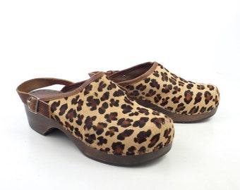 Leather Wooden Clogs Shoes Vintage Leopard Print 1990s Leather Size 37