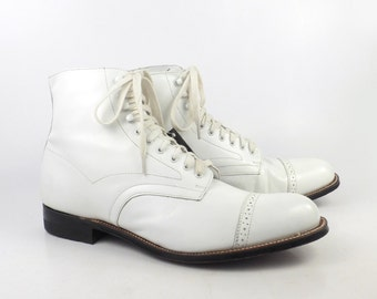 Stacy Adams Boots Vintage 1980s Madison Boots White Leather Ankle Men's size 8 1/2 D