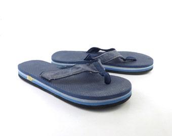 1980s Flip Flops Vintage Sandals Blue Black Stripe Foam 80s Eighties Thick