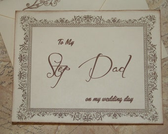 To My Step Dad on my Wedding Day Card, Step Dad Card, Step Dad of the Bride Card