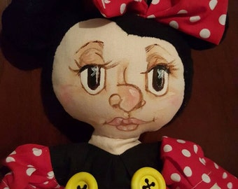 Minnie Mouse Amanda 20 inches tall ooak Doll by Deb the Doll Gnome