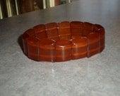 Baltic Amber honey butterscotch beaded stretch Bracelet rectangular beads