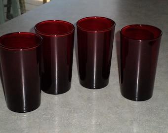 set of 4 ruby red glass Anchor Hocking vintage tumbler glasses