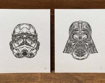 Pinstriped Star Wars Letterpress Prints