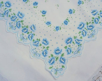 Vintage White Hanky with Blue Flowers and Scalloped Edge - Handkerchief Hankie