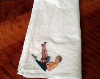 Pinup Hankie I - All this and brains too! - Napkin -Bandanna -Handkerchief