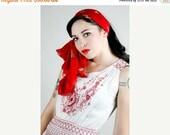 Summer Sale 20s Dress, White Dress, Red Embroidered Dress, Casual Dress, Tea Party, Spring Dress, Summer Dress, 1920s Dress,