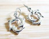 SALE Three Dolphins Hoop Earrings Tibetan Silver