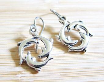 Three Dolphin Ocean Hoop Earrings Tibetan Silver