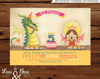 Dragons love Tacos birthday party invitation - inspired from dragons love tacos book,  party