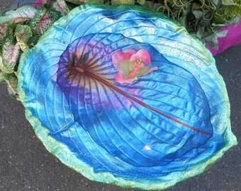 "Leaf Birdbath concrete leaf / Bird Feeder created from LIVE hosta leaf - No. 6616, 15 x 11h"", stands on pole in garden or under rain chain"