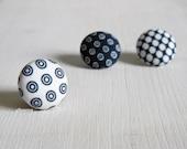 Lapel pin. Mens lapel button pin. Round boutonniere. Blue, white. Geometric buttonhole.