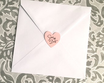 Save the Date heart stickers for sealing envelopes set of 12