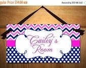 On SALE now Personalized DOOR SIGN Navy Hot Pink Chevron Sign Girls Bedroom Plaque Nursery Kids Bedroom Sign Wall Art Personalized Name Ds03