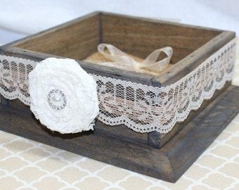 Ring Box, Ring Bearer Box, Wooden Ring Box, Ring Bearer Pillow, Ivory Lace, Neutral Ring Pillow, Burlap Pillow, Rustic Ring Box, Custom