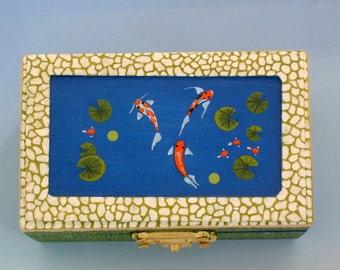 Holiday gift ideas, hand painted wood trinket treasure jewelry box, Koi pond inset cobblestone botanical keepsakes ooak 3D art collectibles