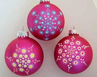 Hand painted ornaments-Christmas tree ornament-glass holiday decoration-gift for hostess-best friend-teacher gift-yoga art-mandala-neon glow