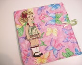 Playbook holder for fabric paper dolls Butterflies on glittery pink