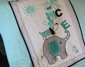 Baby quilt baby blanket nursery decor Elephant ABC quilt turquoise Quiltsy handmade