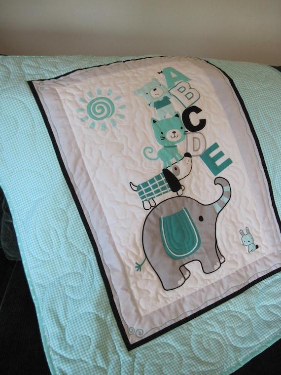 Baby Quilt Baby Blanket Nursery Decor Tummy Time Elephant Abc