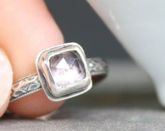Alexandrite Ring Sterling Silver Size 7, Stackable Ring, Gemstone Ring, Rose Cut Gemstone
