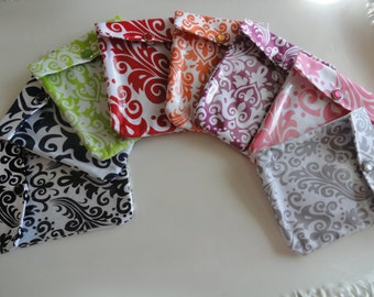 Clearance Ouch Pouch - Your Choice Damask Fabric Color and Size (Small 4x5 or Medium 5x7 ) Each Made with Clear Front Pocket