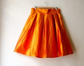 Orange Knee Skirt Silk Taffeta High Waist Party Evening Skirt with Pockets, Prom Cocktail Skirt, Customize color and length, Plus sizes