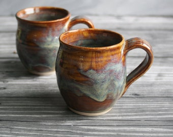 Pair of Earthy Amber Mugs Handmade Stoneware Coffee Cups Made in USA Ready to Ship