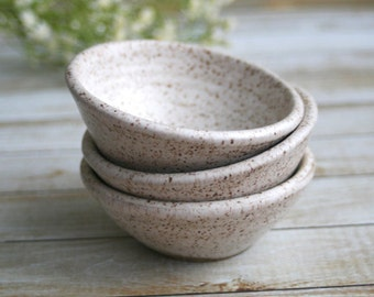 Three Small Rustic Speckled Bowls In Creamy Satin White Glaze Earthy Ceramic Bowls Ready to Ship Made in USA