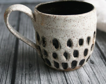 Handmade Stoneware Mug in Black and White Speckled Glaze Rustic Pottery Cup Ready to Ship Made in USA