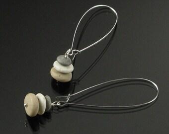 Zen Pebble Earrings, Cairn Earrings, Rock Earrings, Nature Jewelry, Long Earrings, Buddhist Jewelry Gift for Her, Light Minimalist Earrings