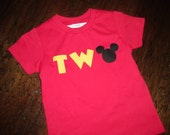 READY TO SHIP...Mickey Clubhouse Inspired Red Yellow Black Tshirt tee shirt Boys 2nd Second Two Birthday