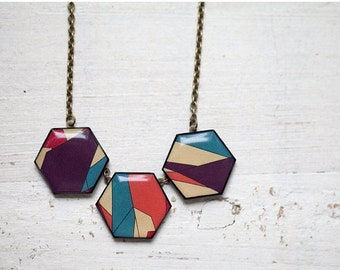 Geometric Necklace - Geometry jewelry - Color Blocking necklace (BN021)