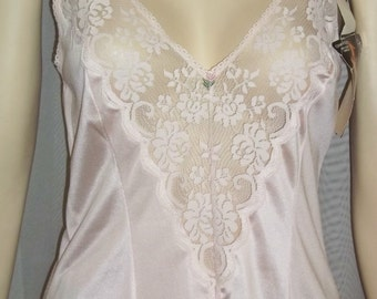 Vintage Deadstock Maidenform Chantilly Pink Nylon Lace Camisole Cami 34