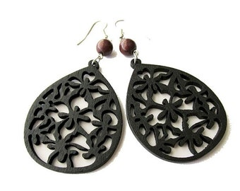 Black Teardrop Wooden Earrings with Brown Magnesite Stone Beads
