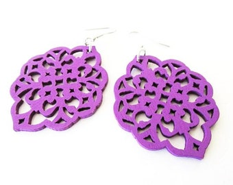 Purple Filigree Wooden Earrings