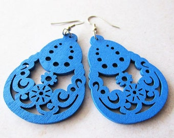 Royal Blue Pear Shaped Wooden Earrings | Lightweight Lazer Cut Wood | Hippie Boho Style Jewellery | Gift for Her | Stainless Steel