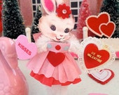 Vintage Inspired Christmas  SuGaR SwEeT Valentine Kitschy Bunny Keepsake BE MINE VALENTINE