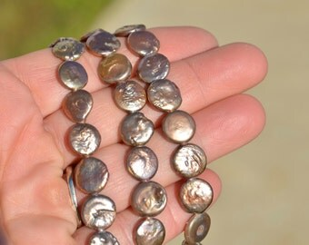 1 Strand Brownish Pink Colored Coin Pearls BD887