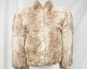 50% Off Sale 80s Cropped Rabbit Jacket size Small Fluffy Genuine Rabbit Fur