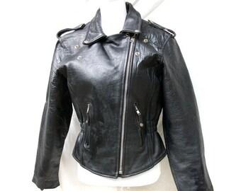 SALE 80s Black Leather Biker Jacket size Small Medium Zippers Studs Moto Leather Club
