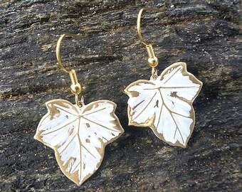 White Enameled Brass Leaf Earrings