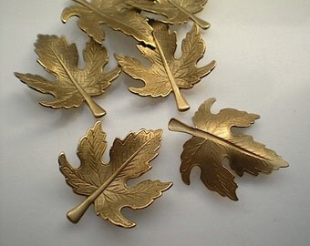 6 brass leaf charms, No. 4