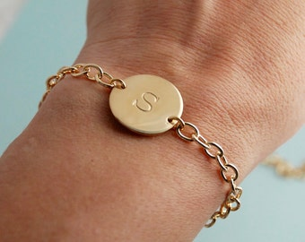 Gold Initial Bracelet / Bridesmaid bracelet / Personalized Bracelet